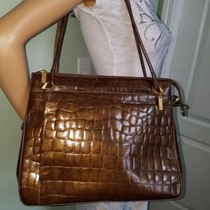 Handbags - CLAUDIO FERRICI Vintage Croco Embossed Leather Bag
